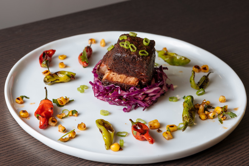 beef shortrib with cabbage slaw and roasted shisito peppers