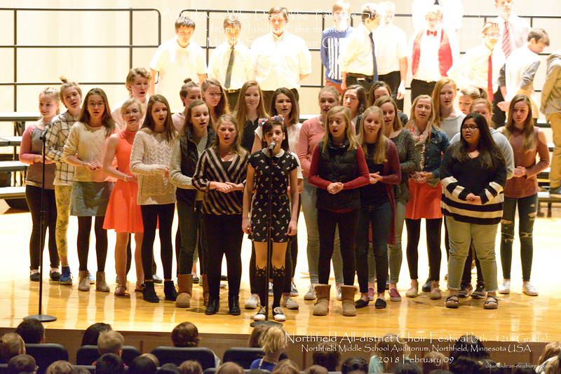 All-district Choir Festival, 5th through 12th grade, 2018 February 09, Northfield Middle School, Northfield, Minnesota  USA.