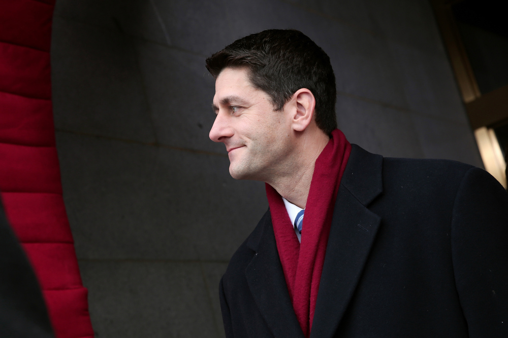 . House Budget Committee Chairman Rep. Paul Ryan, R-Wis. arrives on the West Front of the Capitol in Washington, Monday, Jan. 21, 2013, for the Presidential Barack Obama\'s ceremonial swearing-in ceremony during the 57th Presidential Inauguration.  (AP Photo/Win McNamee, Pool)