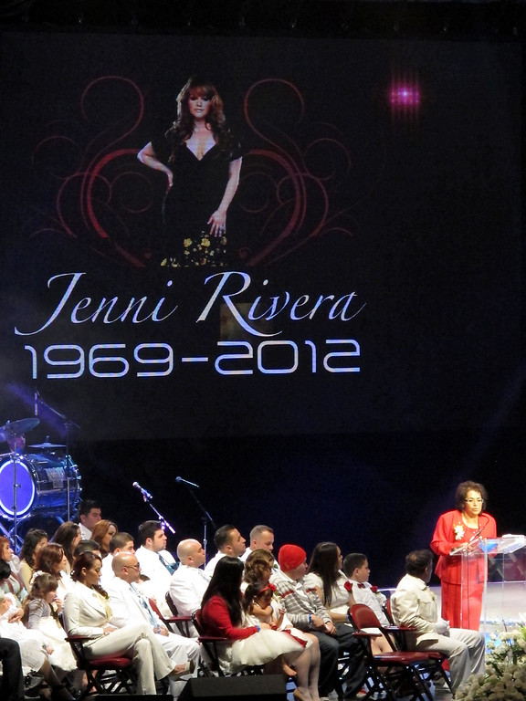 . Rosa Rivera, the mother of Jenni Rivera, speaks at her memorial service at the Gibson Amphitheatre Wednesday, December 19, 2012, in Universal City. (Michael Owen Baker/Los Angeles Daily News)