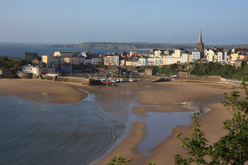 Tenby harbour and Caldey Island