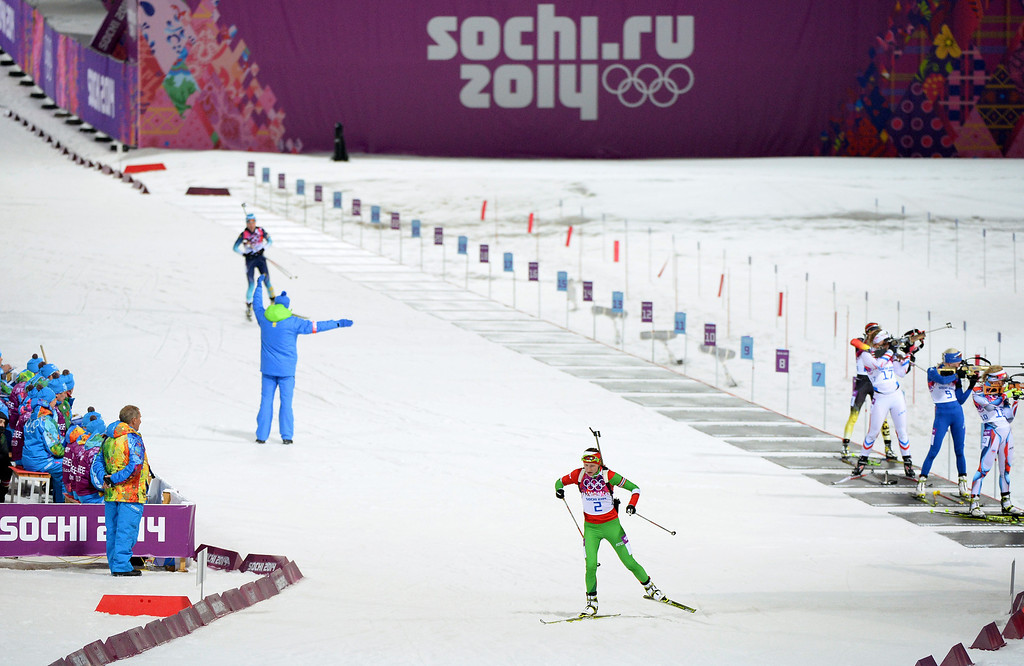 . Darya Domracheva of Belarus competes in the Women\'s 12.5 km Mass Start during day ten of the Sochi 2014 Winter Olympics at Laura Cross-country Ski & Biathlon Center on February 17, 2014 in Sochi, Russia.  (Photo by Harry How/Getty Images)