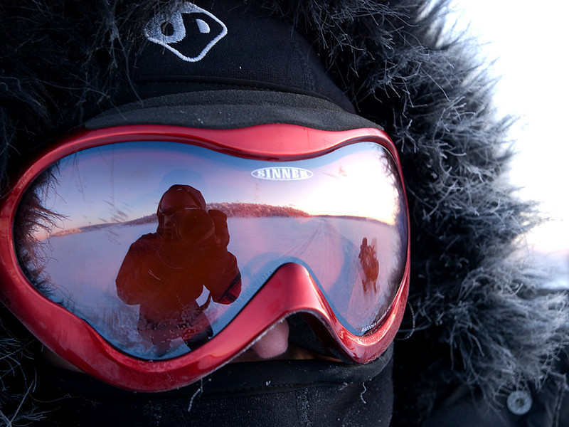 Self portrait, reflective style. Sunset, skidoo and plateau all in one shot. Love it!