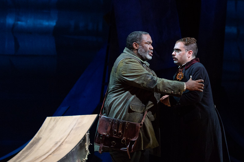 "Eric Owens as the Forester and Dylan Morrongiello as the Schoolmaster in The Glimmerglass Festival's 2018 production of Janáček's ""The Cunning Little Vixen."" Photo: Karli Cadel/The Glimmerglass Festival"