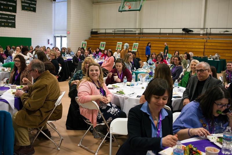 "LANCASTER, OHIO   MARCH 23, 2018: Attendees listen as Columbus NBC4 News Anchor and Attorney, Colleen Marshall, addresses the crowd during her talk titled ""Standing Up for Your Story"" during the luncheon and awards ceremony during the Celebrate Women Conference 2018, themed ""Recognizing Our Superpowers"" on March 23, 2018 at Ohio University Lancaster in Lancaster, Ohio.  Ty Wright photo"