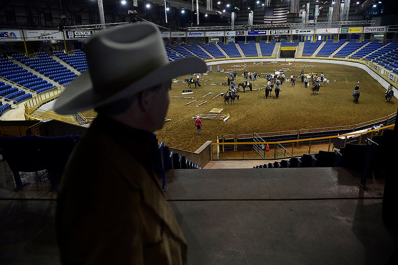 . National Western Stock Show CEO Paul Andrews watches a horse show at the Events Center on Wednesday, January 9, 2012. AAron Ontiveroz, The Denver Post
