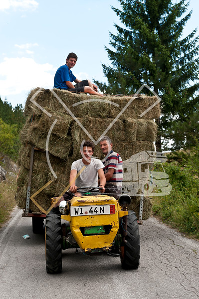 Stacked hay on tracktor trailer
