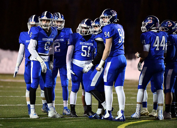 12/4/2019 Mike Orazzi | StaffrSouthington during the Class LL football playoff with Ridgefield at Southington High School on Wednesday night.
