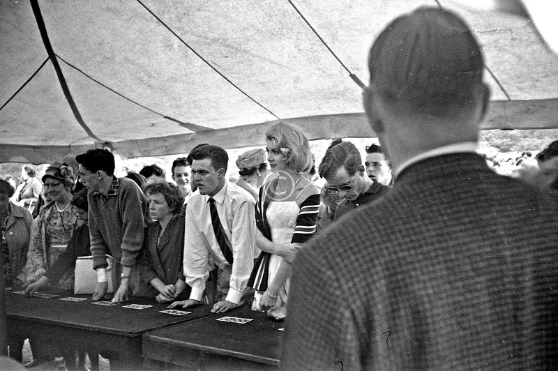 In the Tombola Tent. The elegant blonde was, if I recall correctly, the reigning Miss Scotland and the guest of honour.