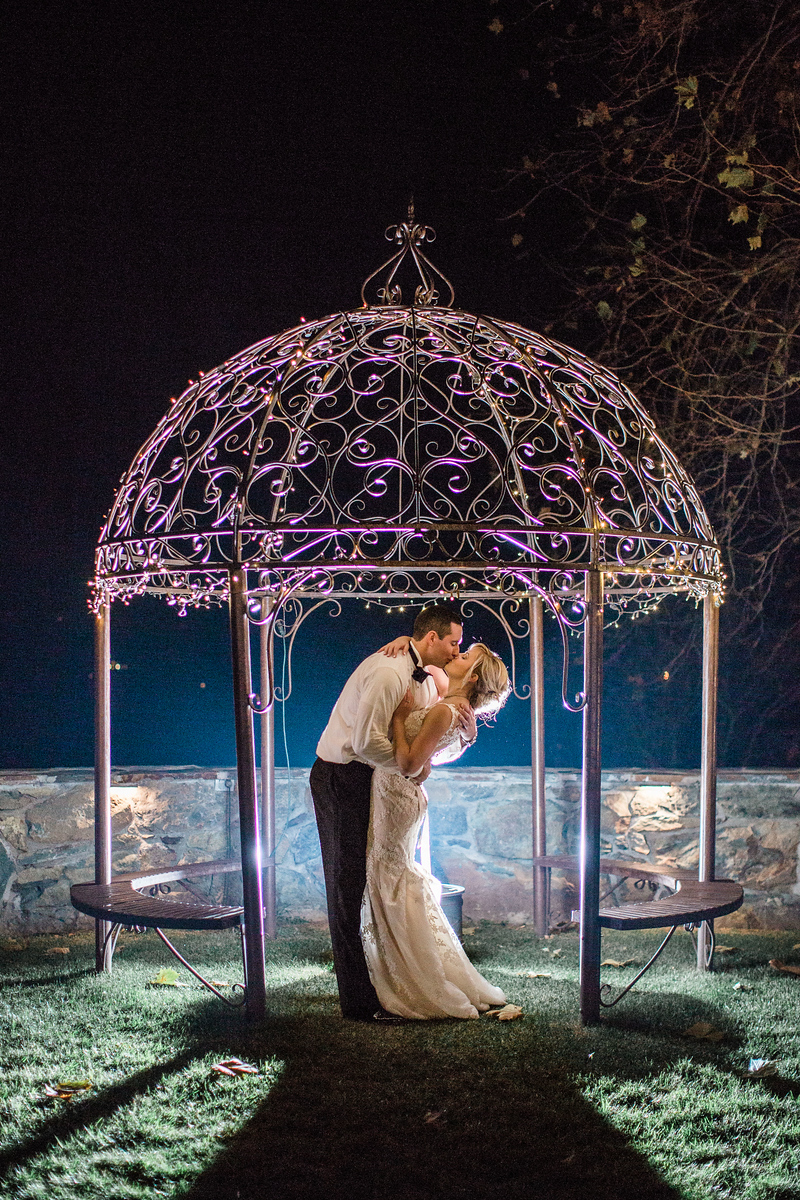 Shot in the gazebo at Meg and Kyle's Bluemont Vineyards wedding. Photos by the best Washington DC wedding photographer Jalapeno Photography.