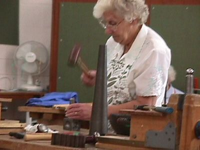 Gill and Edna silversmithing and stonecarving