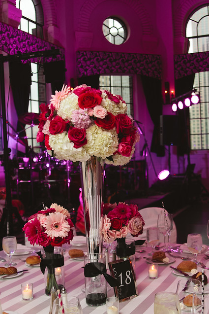 pink, red, and white floral table centerpiece