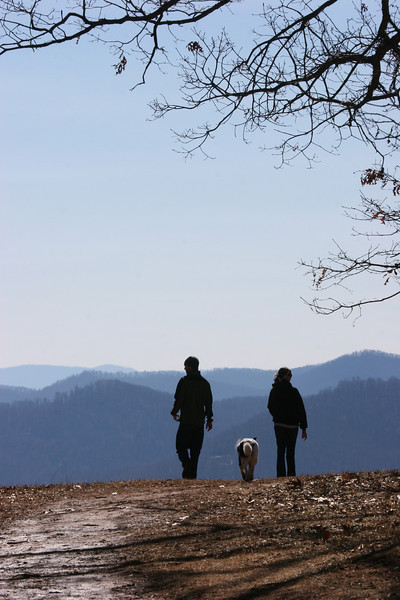 Cat, Drew and Bessie atop Mount Spivey