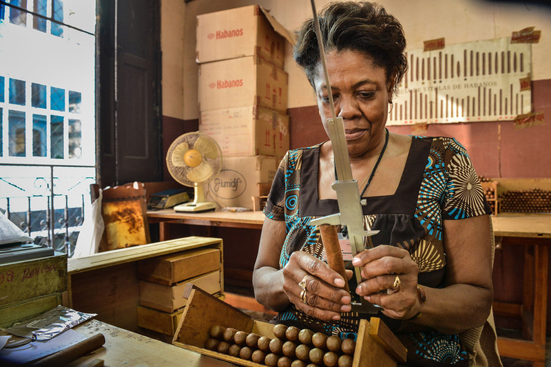. A worker measures and puts cigars in boxes, on February 27, 2014 at the H. Upmann cigar factory in Havana. The production of Cuban cigars experienced an 8% growth in 2013 adding 447 million dollars to the Cuban economy. The XVI Havana Cigar Festival is running in Cuba with the presentation of the best Cuban cigars. (ALBERTO ROQUE/AFP/Getty Images)