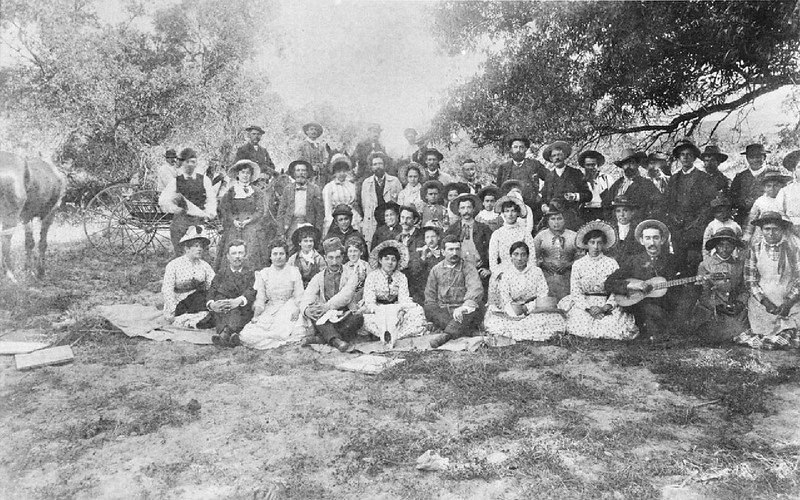 Portrait of the Del Valle family, at their family picnic at Camulos Ranch, Ventura County, California, ca.1900