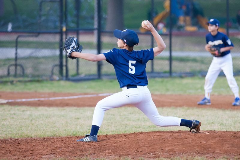 Luke pitching. He gets Toby to hit an infield fly for the out in the top of the 3rd inning. The Nationals almost blew a big lead, but managed to hold off the Brewers to win 9-7. They are now 3-2 for the season. 2012 Arlington Little League Baseball, Majors Division. Nationals vs Brewers (26 Apr 2012) (Image taken by Patrick R. Kane on 26 Apr 2012 with Canon EOS-1D Mark III at ISO 1600, f2.8, 1/1600 sec and 160mm)