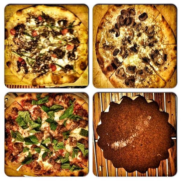 On the #Oscars party table tonite: trio of pizzas; Bouchon TKO faux @Oreo cookies #jux #foodie #food #homemade