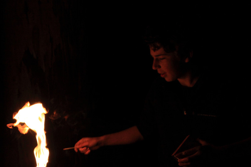 Jack working with flame for the after event: hands on fire.