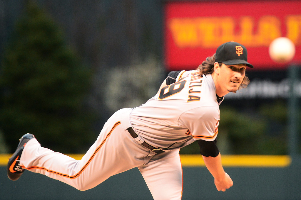 . DENVER, CO - APRIL 12: San Francisco Giants starting pitcher Jeff Samardzija (29) throws a pitch during the first inning at Coors Field on April 12, 2016 in Denver, Colorado. (Photo by Brent Lewis/The Denver Post)