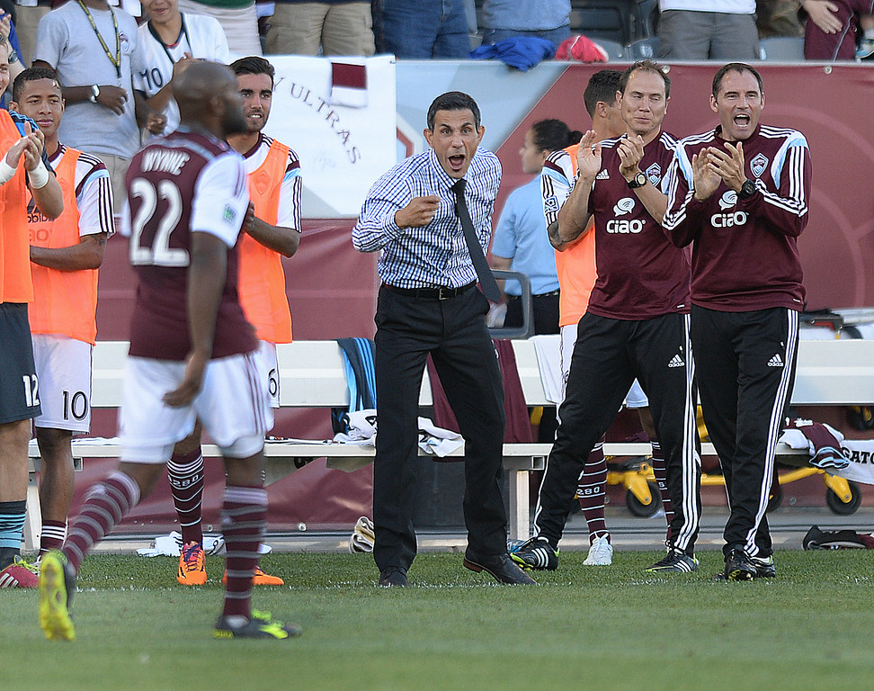 . COMMERCE CITY, CO - JUNE 28: Rapids coach Pablo Mastroeni celebrated the first Rapids goal Saturday night. The Colorado Rapids hosted the Vancouver Whitecaps at Dick\'s Sporting Goods Park Saturday night, June 28, 2014.  Photo by Karl Gehring/The Denver Post