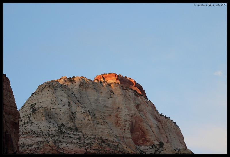 Mountain peak at sunset, Zion National Park, Utah, May 2010