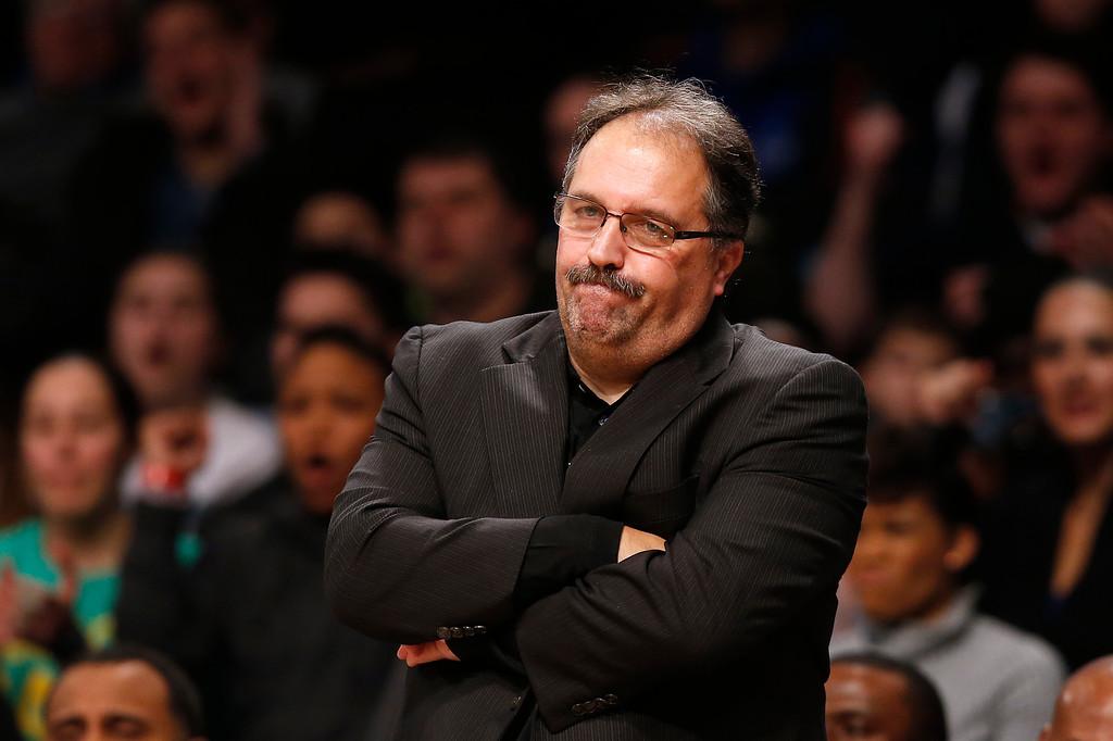 . Detroit Pistons coach Stan Van Gundy looks on during the third quarter of an NBA basketball game against the Brooklyn Nets, Sunday, Dec. 21, 2014, in New York. Brooklyn won 110-105. (AP Photo/Jason DeCrow)