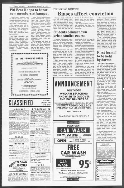 Daily Trojan, Vol. 62, No. 58, January 06, 1971