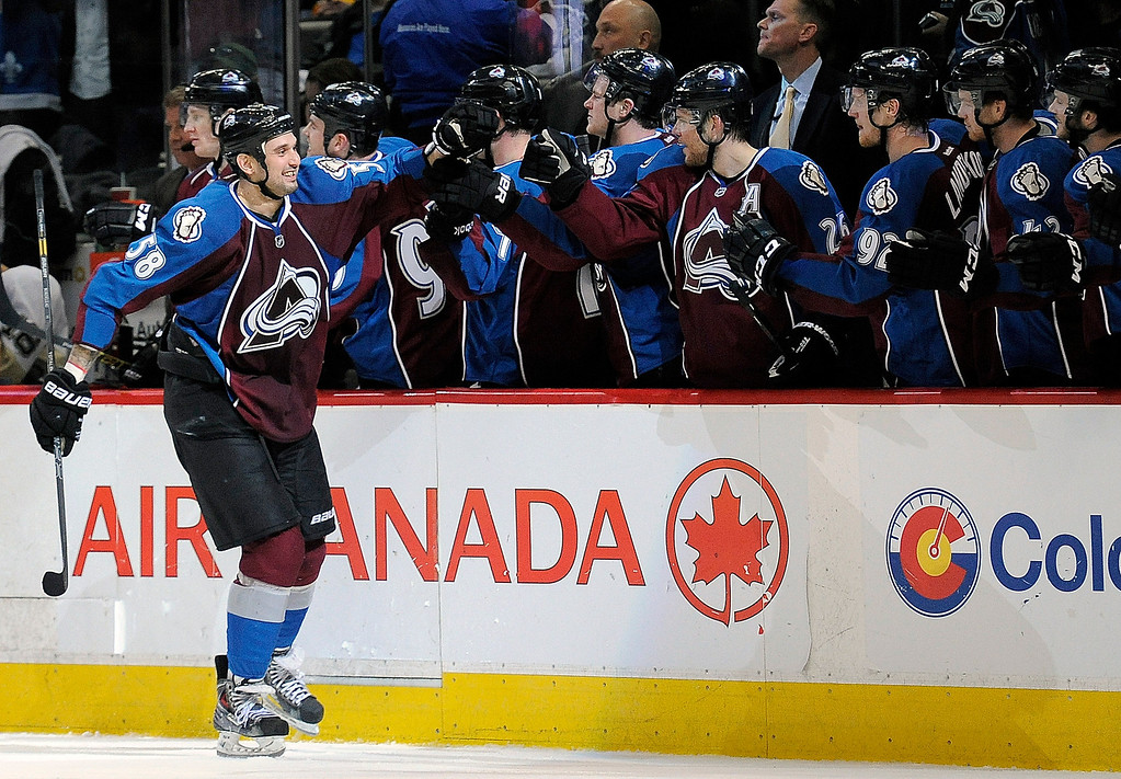 . Colorado Avalanche left wing Patrick Bordeleau celebrates a goal in the third period of an NHL hockey game against the Pittsburgh Penguins on Sunday, April 6, 2014, in Denver. The Penguins won 3-2 in a shootout. (AP Photo/Chris Schneider)