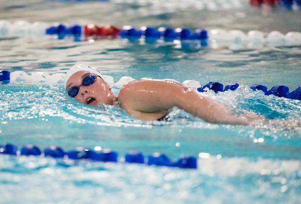 Plainville girls swimming vs Bristol Eastern at Plainville High School last season. Bristol Eastern's Taylor DeMarest in the 500 free. Wesley Bunnell   Staff