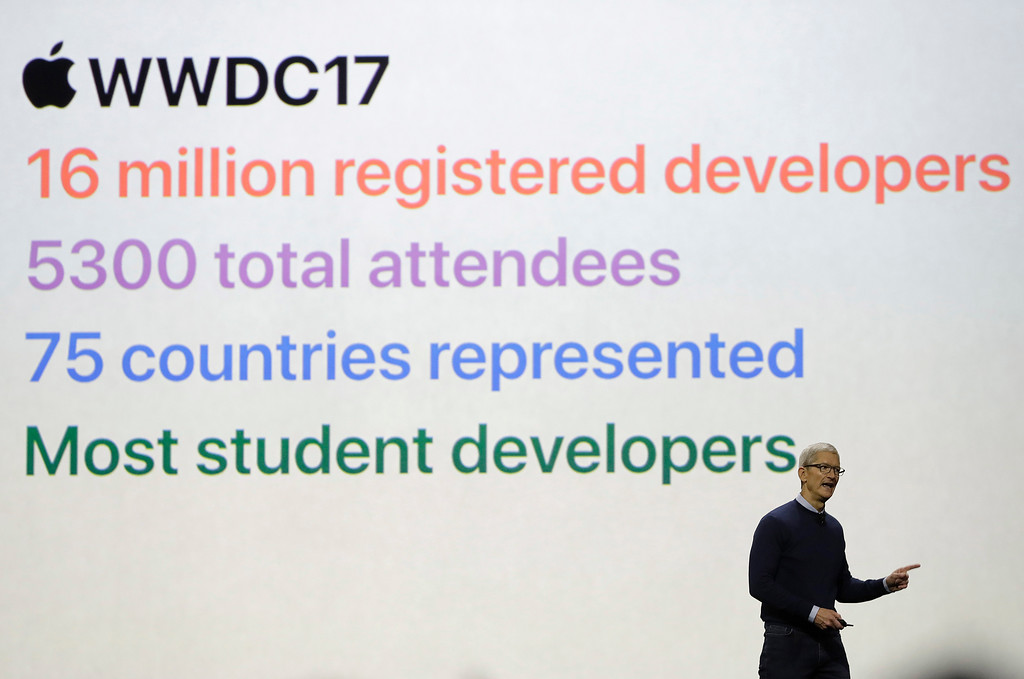 . Apple CEO Tim Cook speaks during an announcement of new products at the Apple Worldwide Developers Conference in San Jose, Calif., Monday, June 5, 2017. (AP Photo/Marcio Jose Sanchez)