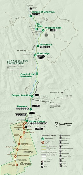 Zion National Park (Shuttle Map)