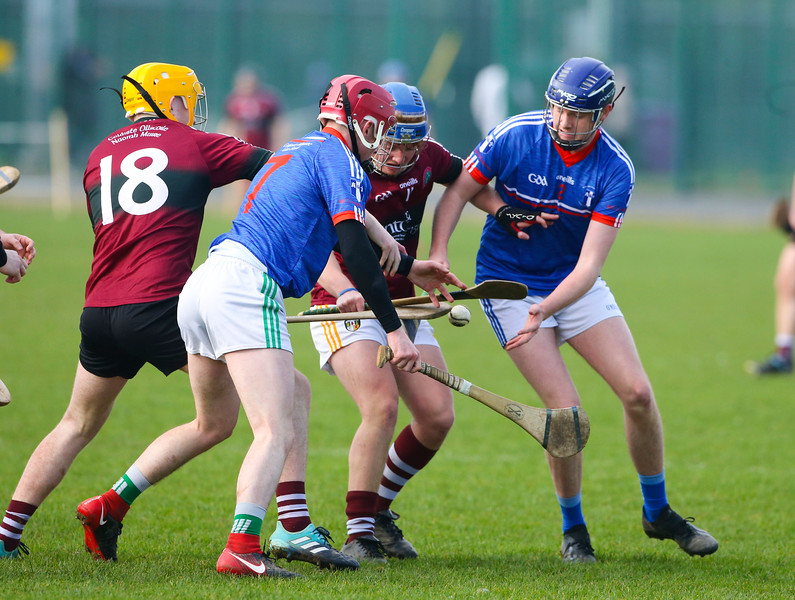 22/02/2019. Fitzgibbon Cup at WIT. Electric Ireland Fergal Maher Cup Semi Final MIC Thurles V St Marys. Pictured are St Marys  Michael Hopkins and Tiarnan Murphy and MIC Thurles Jake Tobin and Killian Hannan. Picture: Patrick Browne