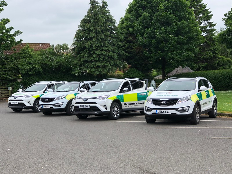 Neilston and Uplawmoor Community First Responders 2 x Toyota RAV4's ready to answer emergency calls with our retiring 2 x KIA Sportages.