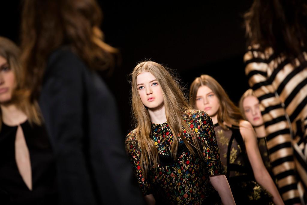 . Models walk the runway at the presentation of the Jill Stuart Fall 2013 fashion collection during Fashion Week, Saturday, Feb. 9, 2013, in New York. (AP Photo/John Minchillo)