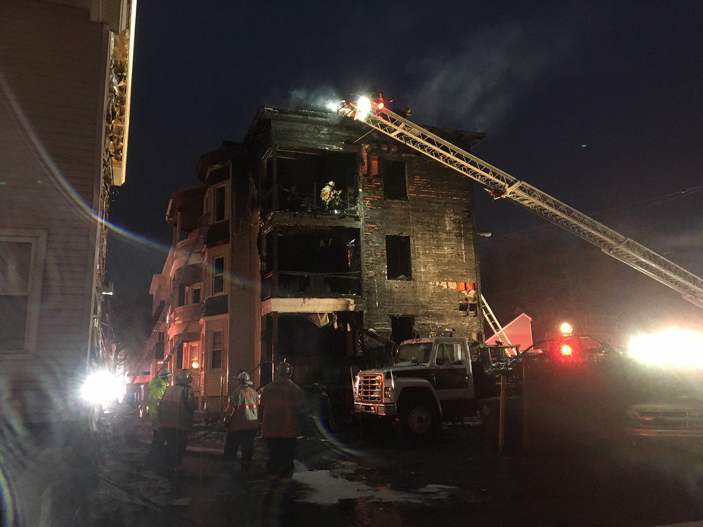 . Firefighters were able to contain a blaze at three-story wood frame apartment building at Pleasant Place early Friday morning -- ensuring it did not spread to a nearby complex. No one was injured in the three alarm fire, which heavily damaged 18 Pleasant Place and caused the evacuation of 29 Pleasant Place. SENTINEL & ENTERPRISE / Elizabeth Dobbins