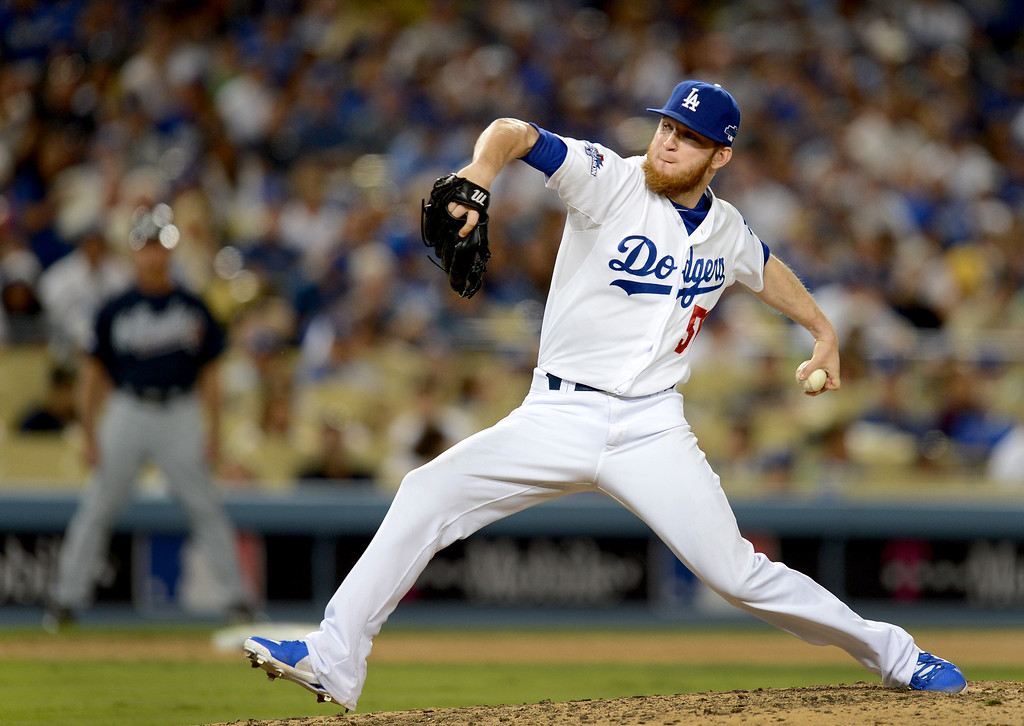 . Los Angeles Dodgers\' J.P. Howell pitches to the Braves during game 3 of the NLDS at Dodger Stadium Sunday, October 6, 2013. (Photo by Hans Gutknecht/Los Angeles Daily News)