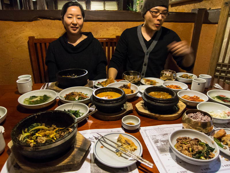 Eating (L-to-R) bibimbap, biji jjigae, and doenjang jjigae.