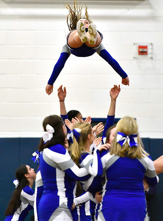 12/29/2018 Mike Orazzi | Staff Bristol Eastern High School Cheerleaders during Saturday's boys basketball game in Bristol.
