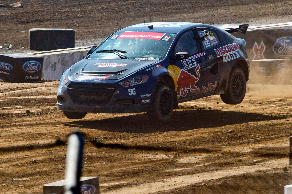 . Travis Pastrana competes in the Ford RallyCross SuperCar final round during X Games Los Angeles at Irwindale Event Center on Sunday, August 4, 2013. Toomas Heikkinen won gold.  (SGVN/Staff photo by Watchara Phomicinda)