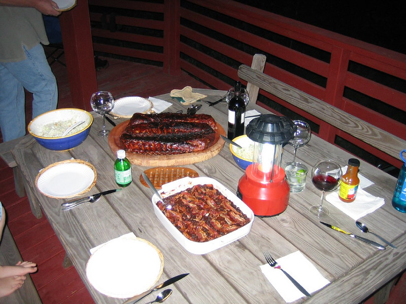 ribs, baked black beans, and petoskey slaw
