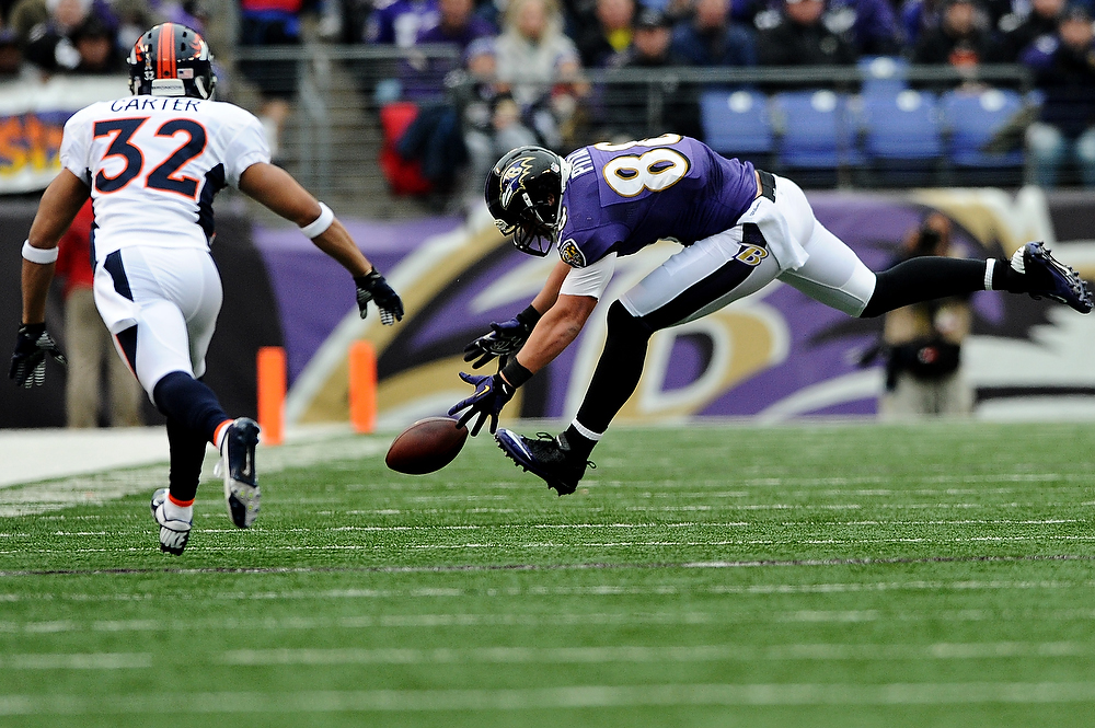 . Tight end Dennis Pitta #88 of the Baltimore Ravens drops a pass against the Denver Broncos in the second quarter at M&T Bank Stadium on December 16, 2012 in Baltimore, Maryland. The Denver Broncos won, 34-17.(Photo by Patrick Smith/Getty Images)