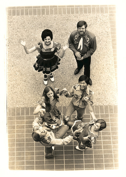 Photo taken by the newspaper photographer to use in the Contra Costa Times. AT BACK: Violet Marsh and Bob Elling. IN CIRCLE: Lois Elling, Al Chen, Fran and Les Mason.