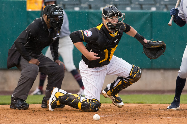 05/03/19 Wesley Bunnell | Staff The New Britain Bees home opener vs the Somerset Patriots on Friday night at New Britain Stadium. Catcher Logan Moore (30) chases a pitch in the dirt that bounces away.