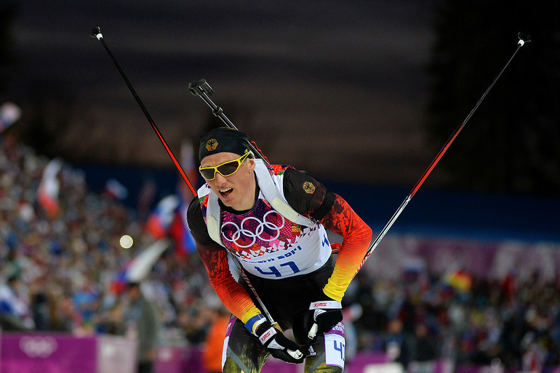 . Erik Lesser of Germany reacts after competing in the Men\'s Individual 20 km during day six of the Sochi 2014 Winter Olympics at Laura Cross-country Ski & Biathlon Center on February 13, 2014 in Sochi, Russia.  (Photo by Harry How/Getty Images)