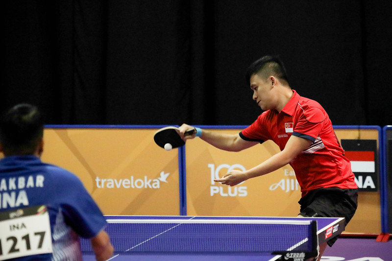 PARA TABLE TENNIS - Singapore's HARRISON GAN ZHI HAO in action during Men Team - Class 10 Round Robin Match against Team Indonesia at MITEC Hall 7 on September 17th, 2017 (Photo by Sanketa Anand)