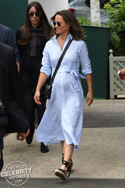 Pippa Middleton Shows Off Bump in Ralph Lauren Shirtdress, London