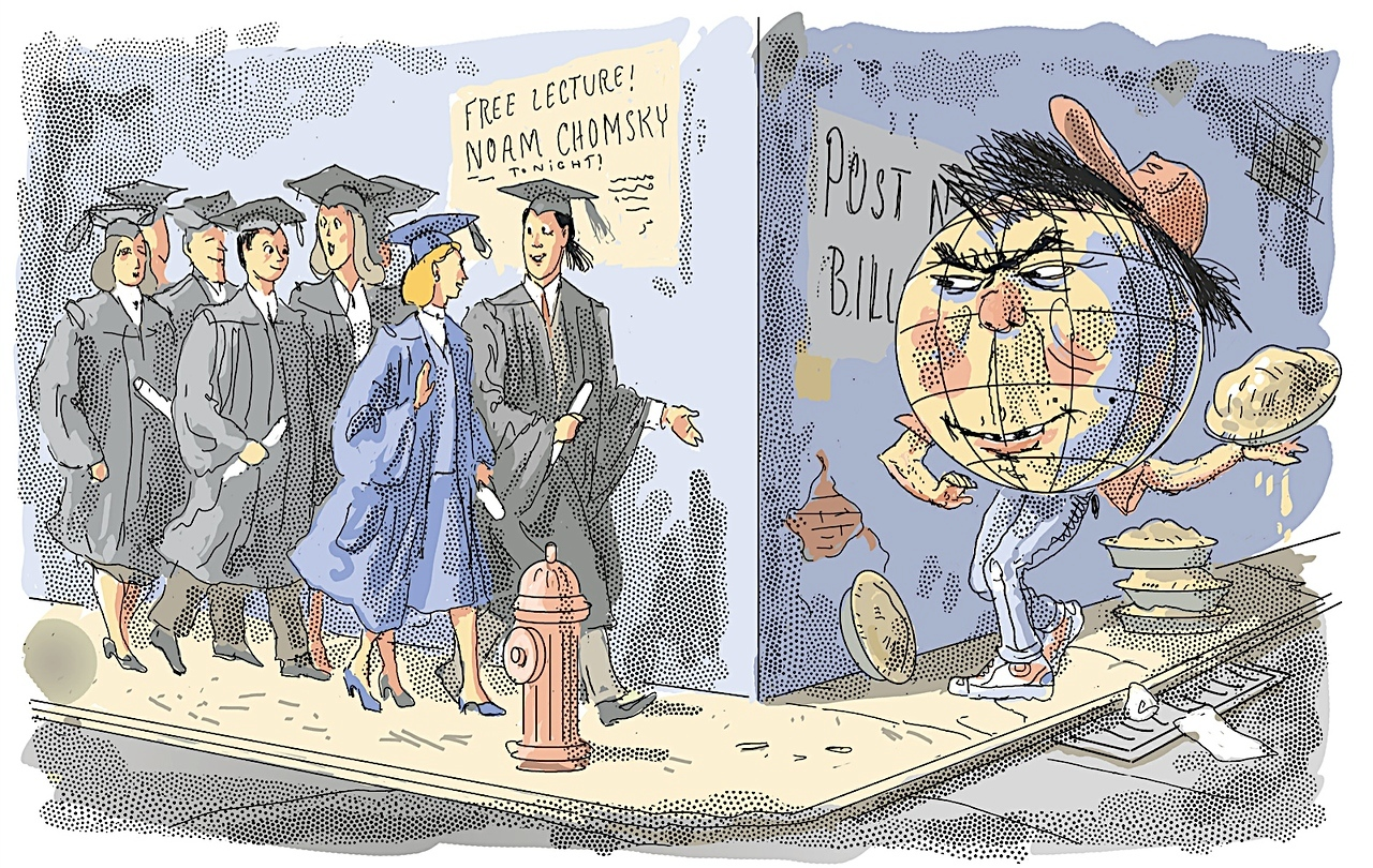 """""""The Perils of June""""; cartoon from The New York Sun, published around graduation time, 2005"""