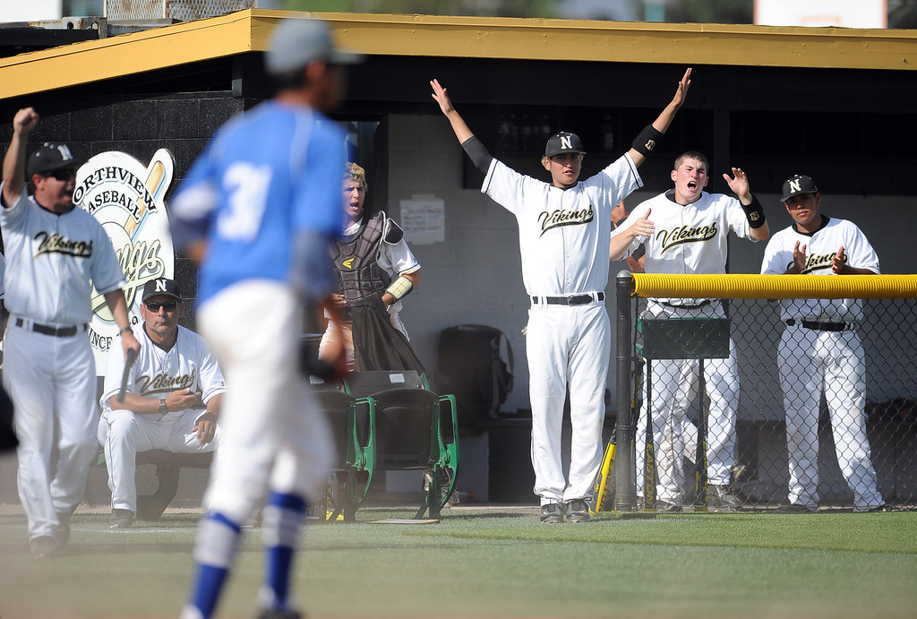 . Northview reacts after scoring in the fourth inning of a prep baseball game against Baldwin Park at Northview High School on Tuesday, April 23, 2012 in Covina, Calif. Northview won 8-2.    (Keith Birmingham/Pasadena Star-News)