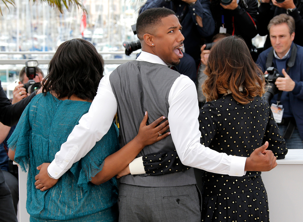 . Actors Octavia Spencer, Michael B. Jordan and Melonie Diaz pose for photographers during a photo call for the film Fruitvale Station at the 66th international film festival, in Cannes, southern France, Thursday, May 16, 2013. (AP Photo/Lionel Cironneau)