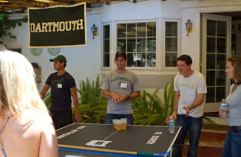 2010 Pong Tournament Champions, Brian Bensch '09 and Paul DuPuy '07, playing on the DAASV Tournament Table.